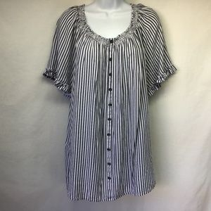 Terra & Sky Women Top Gray Striped Faux Buttons 2X